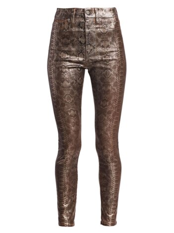 High-Rise Python Print Ankle Skinny Jeans