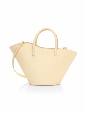 Small Tulip Open Leather Tote