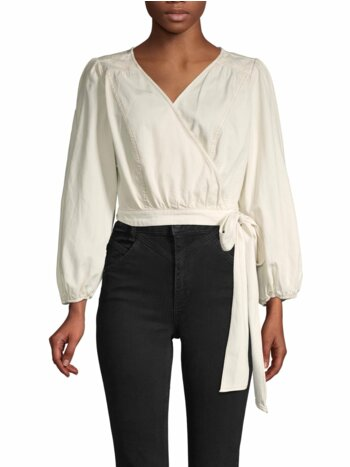 Cropped Cotton Wrap Top