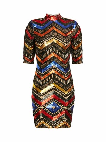 Inka Chevron Sequin Sheath Dress