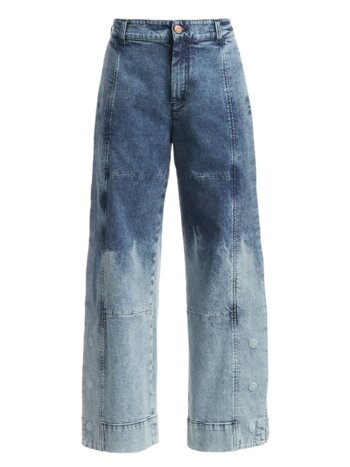 Two-Tone Acid Wash Wide Leg Jeans