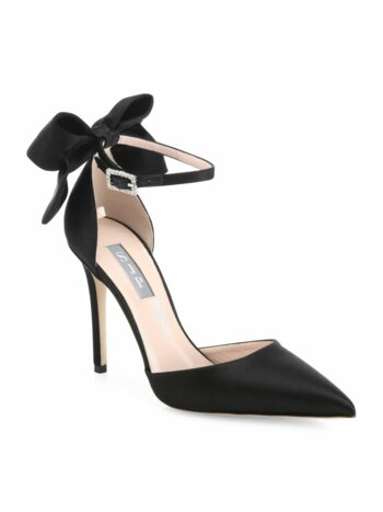 Trance Satin Point Toe Bow Pumps