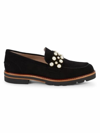 Faux-Pearl Embellished Suede Loafers