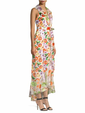 Evelia Asymmetric Floral Maxi Dress