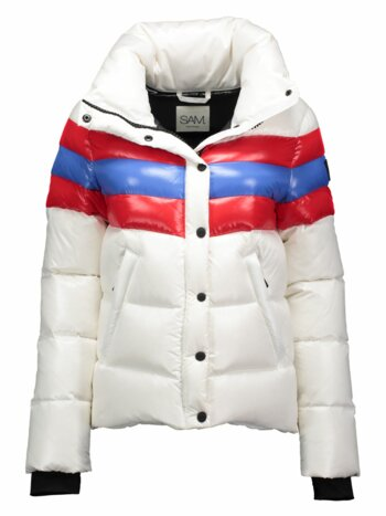 Lindsey Colorblock Stripe Puffer Jacket