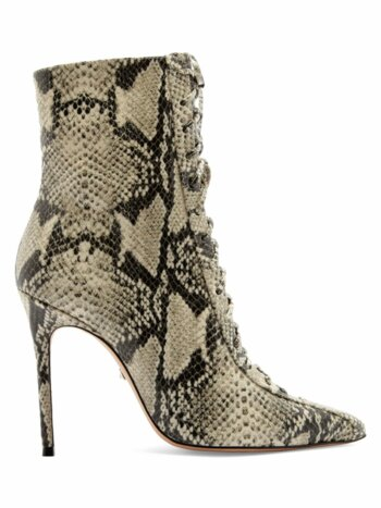 Anaiya Snake-Embossed Leather Lace-Up Point Toe Mid-Calf Boots