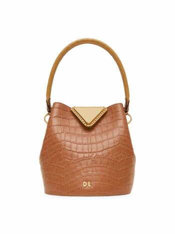 Extra-Small Josh Croc-Embossed Leather Bucket Bag