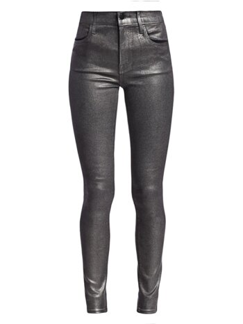 Maria High-Rise Metallic Coated Skinny Jeans