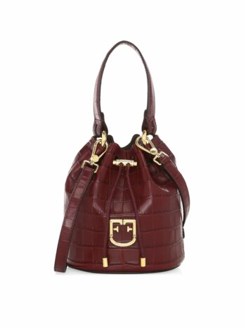 Mini Corona Drawstring Croc-Embossed Leather Bucket Bag