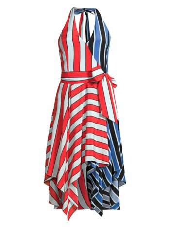Canton Striped Colorblock Wrap Dress