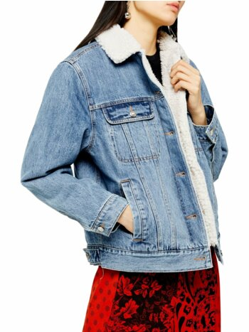 Oversized Blue Denim Faux Shearling Lined Jacket