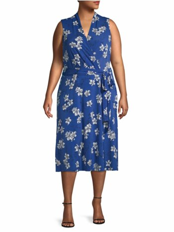 Plus Floral Wrap-Effect Dress