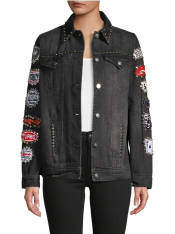 Embellished Patch-Sleeve Denim Jacket