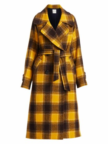 Amber Belted Plaid Wool Coat