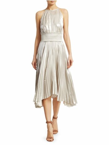Weston Metallic Pleated Midi Dress