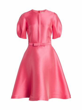 Mikado Pique Balloon-Sleeve Dress