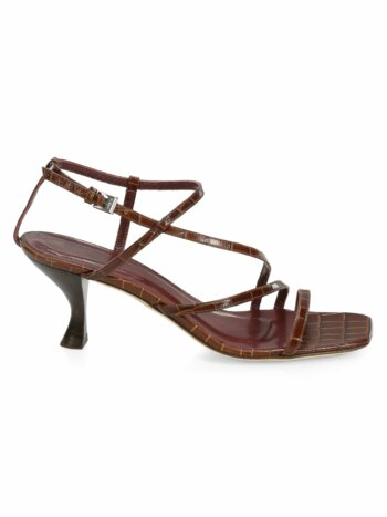 Gita Croc-Embossed Leather Sandals
