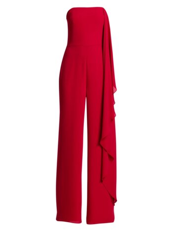 Strapless Asymmetric Draped Jumpsuit