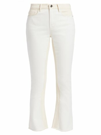 Le Crop Two-Tone Mini Boot-Cut Jeans