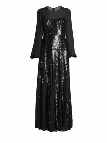 Chiffon Sleeve Sequin Gown