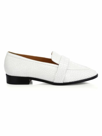 Romina Croc-Embossed Leather Loafers