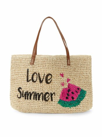 Embroidered Love Summer Paper Straw Graphic Tote