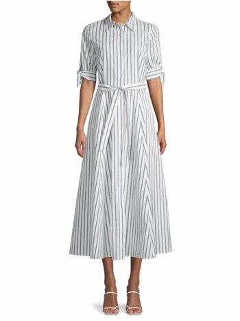Belted Stripe Cotton Shirtdress