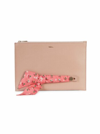 Scarf-Accent Leather Clutch