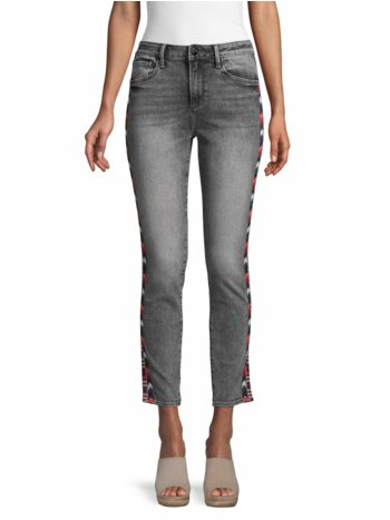 Jackie High-Rise Chevron Embroidery Crop Jeans