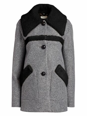 Shearling-Trimmed Wool Peacoat