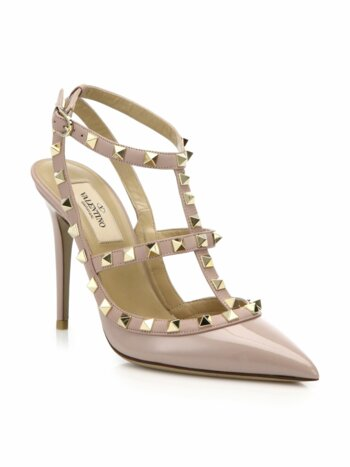 Patent Leather Rockstud Ankle-Strap Sandals