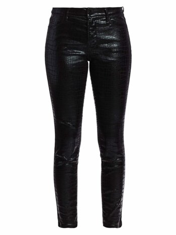 Le High Croc-Embossed Coated Crop Skinny Jeans
