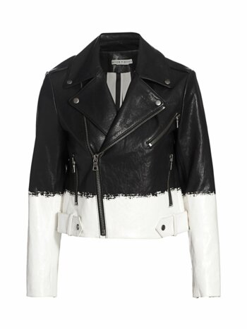 Cody Two-Tone Leather Crop Moto Jacket