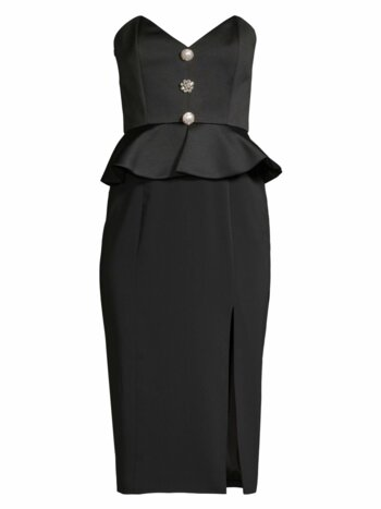 Campo Buttoned Peplum High-Slit Midi Dress