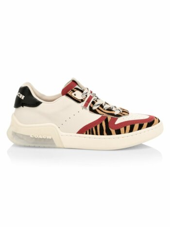 CitySole Tiger-Stripe Calf Hair, Suede & Leather Court Sneakers
