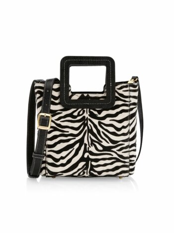 Mini Shirley Zebra-Print Leather Tote