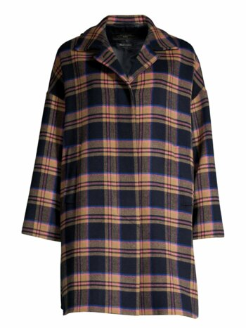 Sonni Check Stretch-Wool Coat