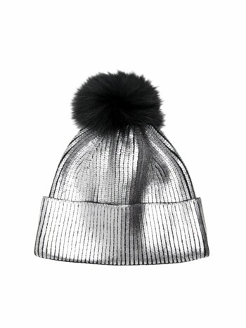 Savage Love Fox Fur Pom-Pom Metallic Beanie