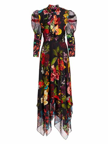 Karen Floral Puff Sleeve Handkerchief Midi Dress