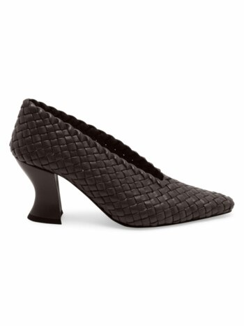 Almond Woven Leather Pumps