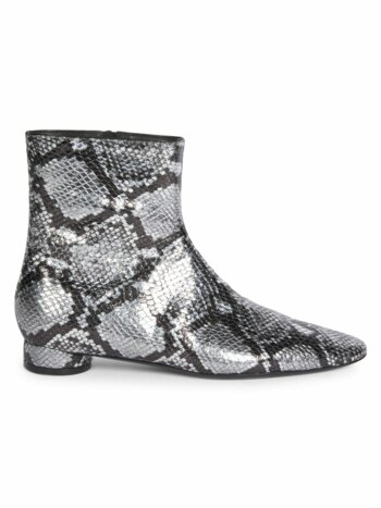 Oval Block-Heel Snakeskin-Embossed Leather Ankle Boots