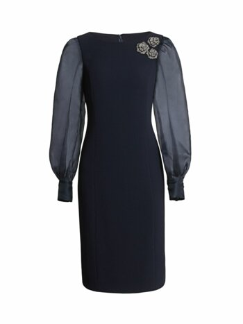 Floral Broach Silk Organza Puff-Sleeve Sheath Dress
