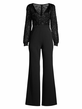 Beaded V-Neck Jumpsuit
