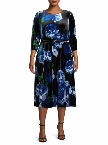 Plus Belted Floral Velvet Dress