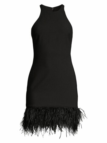 Mora Feather-Hem Mini Dress