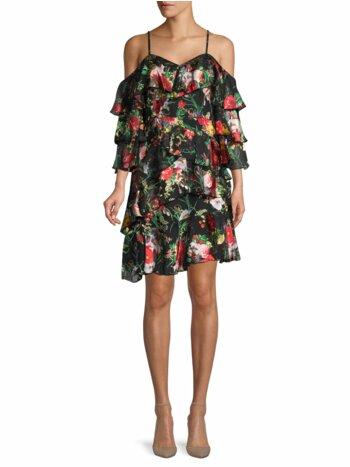 Floral-Print Cold-Shoulder Shift Dress