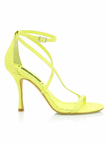 Deidra Lizard-Embossed Leather Sandals