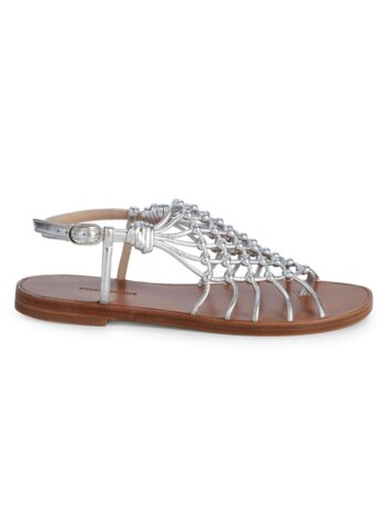 Seaside Metallic-Leather Gladiator Sandals