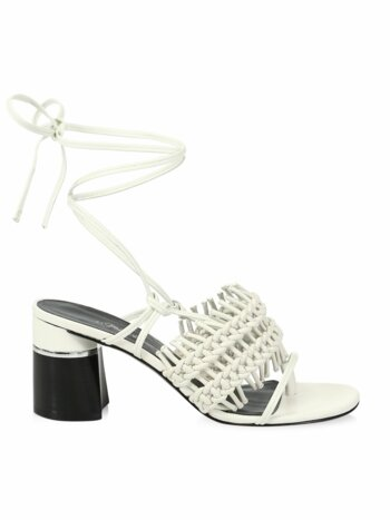 Drum Crochet Leather Block-Heel Sandals