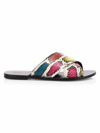 Harrieta Snakeskin-Print Leather Slides